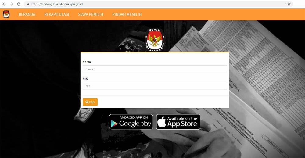 Cara Cek Nama di Daftar Pemilu 2019 - website kpu